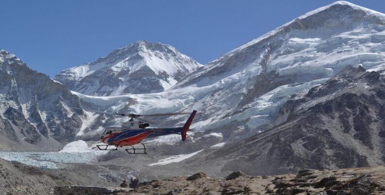 Everest base camp trek return back by Helicopter