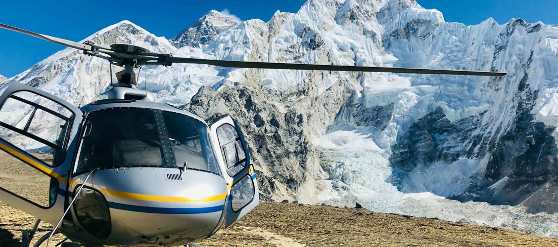 Landing at Everest Base Camp by Helicopter
